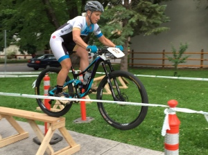 Megan Chinburg manualing off an obstacle in the Eliminator for the win.